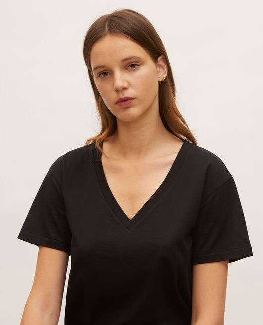 T-shirt en coton à manches courtes col V BLACK BEAUTY