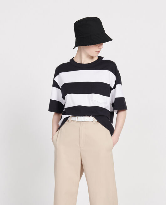 T-shirt large en coton STR OPTICALWHITE BLACK