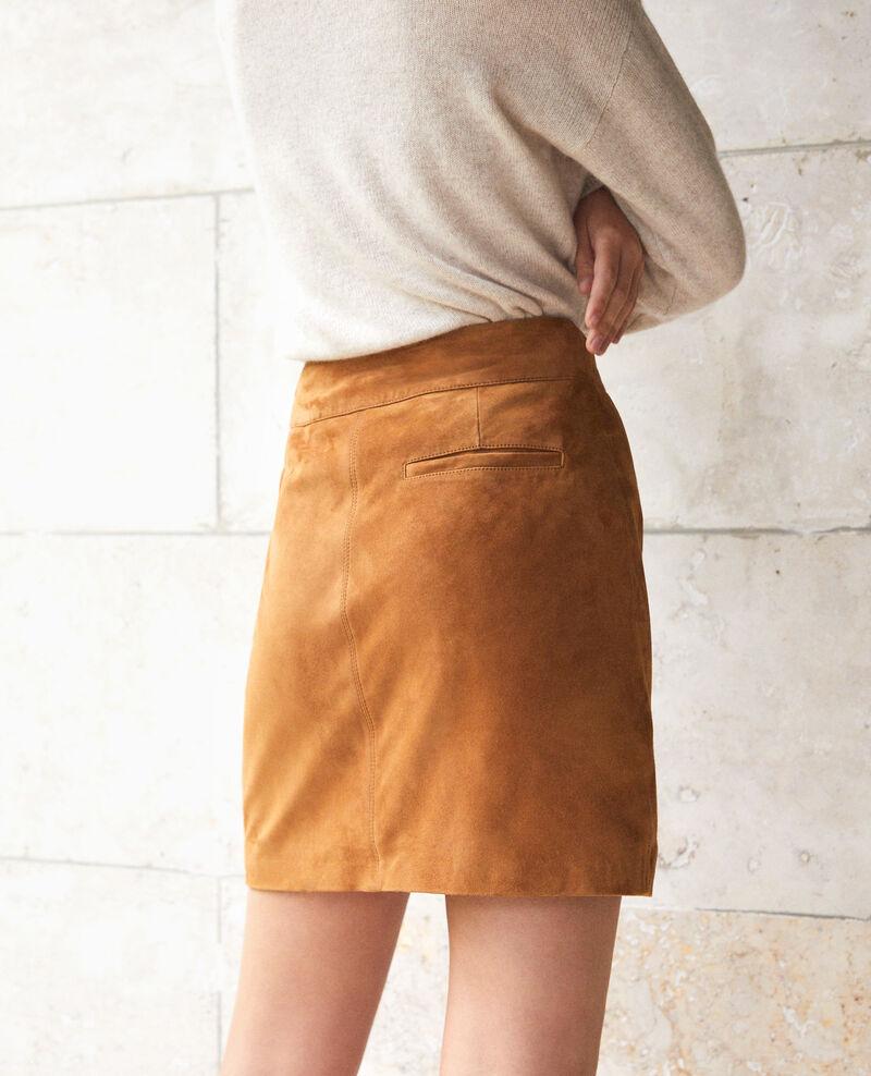 Jupe coupe droite en daim Golden brown Georgiane