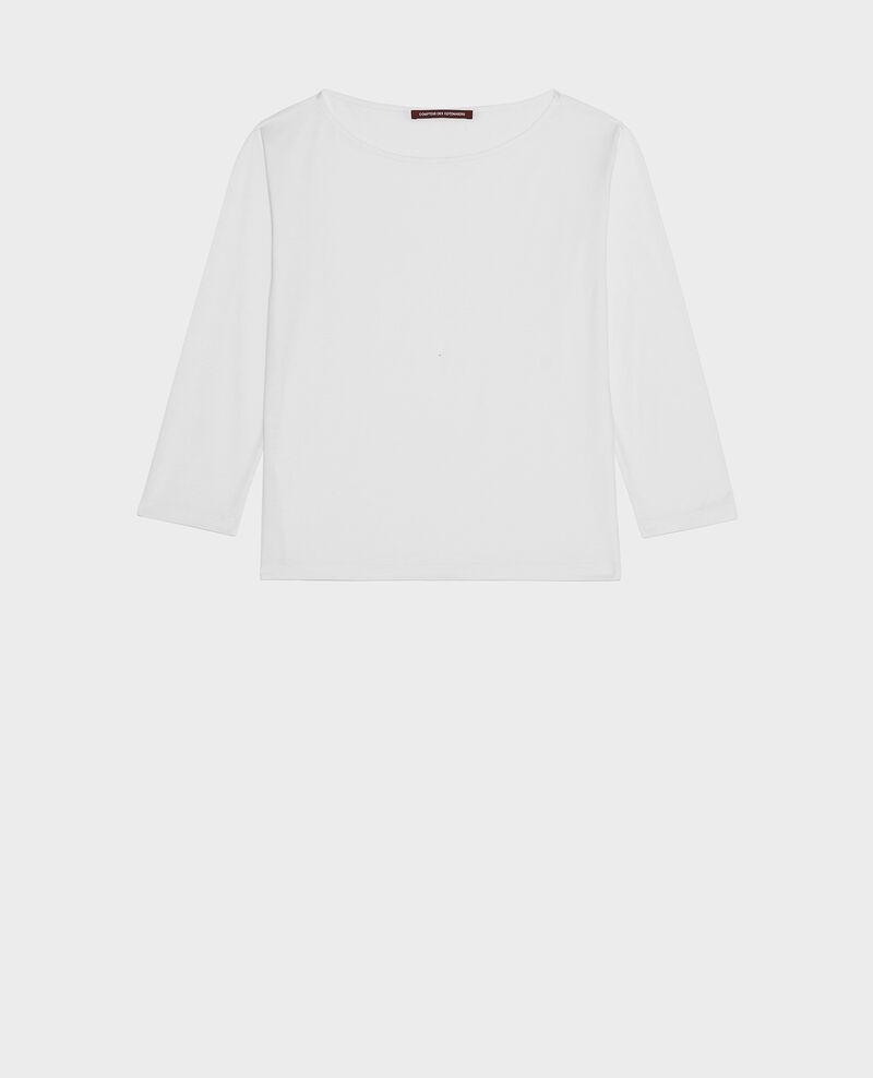 T-shirt coton manches longues col bateau Optical white Lotel