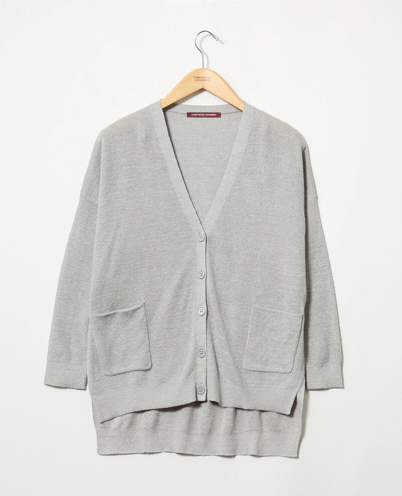 Cardigan oversize en lin Light grey Ilubi