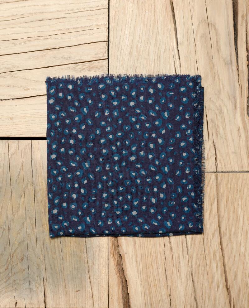 Foulard imprimé en laine Blue leopard peacoat Grae