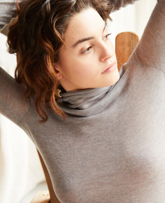 Pull fin en laine col montant HEATHER LIGHT GREY