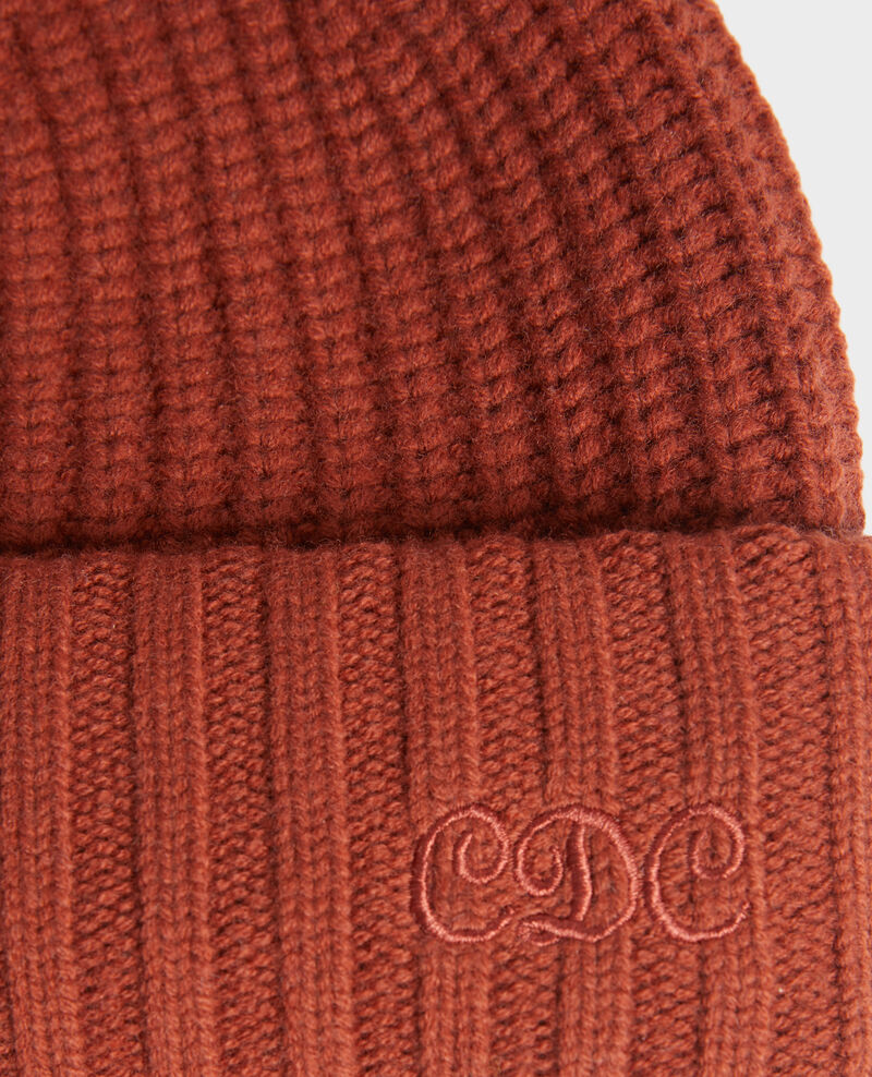 """Bonnet en laine brodé """"CDC"""" Brandy brown Moeze"""