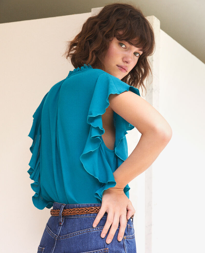 Blouse à volants Pacific green Fretillant