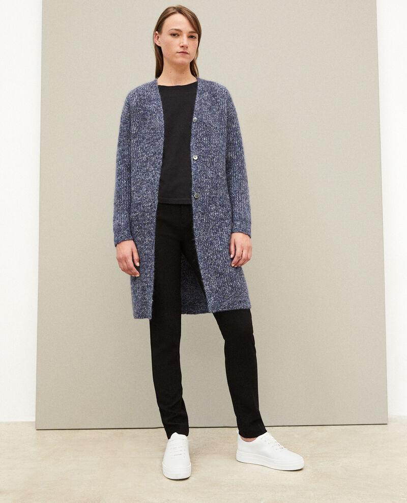 Long cardigan avec du mohair Medieval blue/noir/off white Galex
