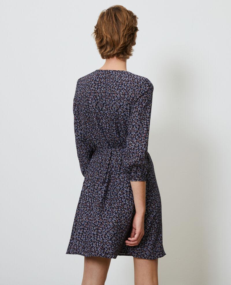 Robe portefeuille en soie fleurie Clochette navy Nireclos