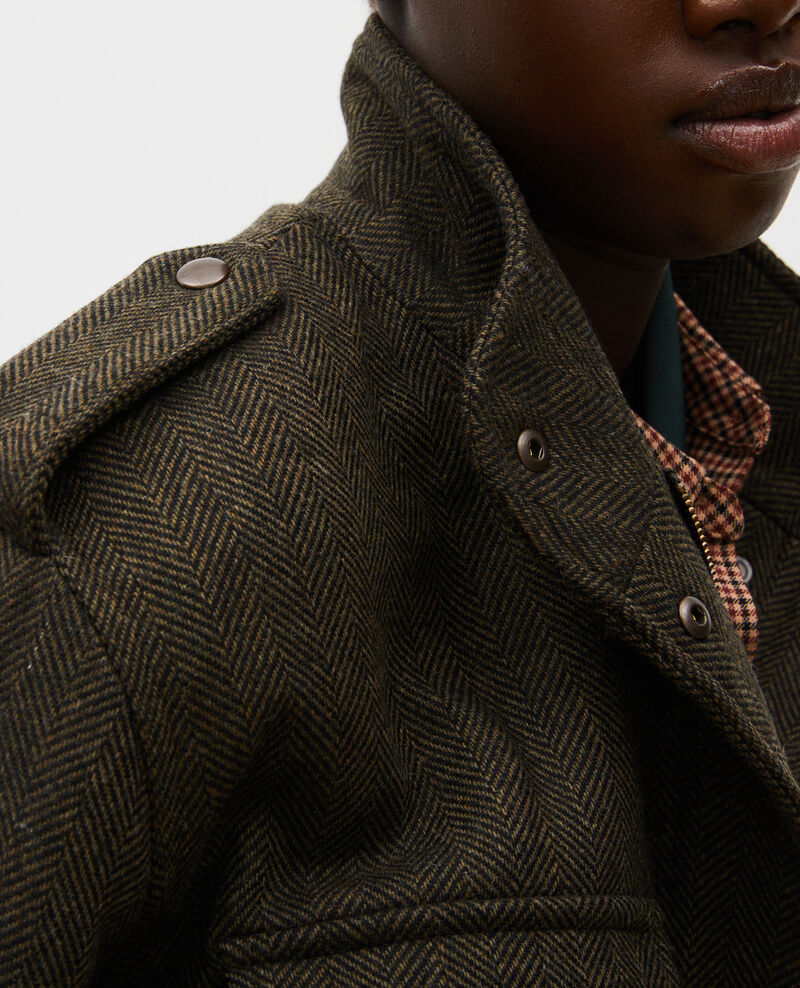 Blouson aviateur en tweed de laine chevrons Military green Maucora