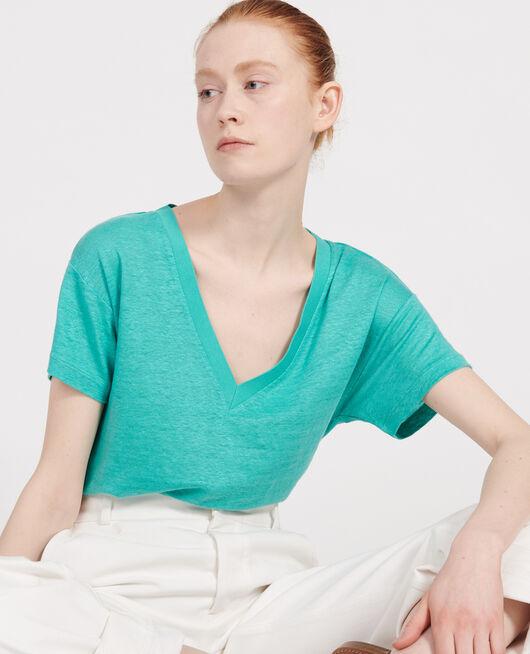 T-shirts en lin jersey BRIGHT AQUA