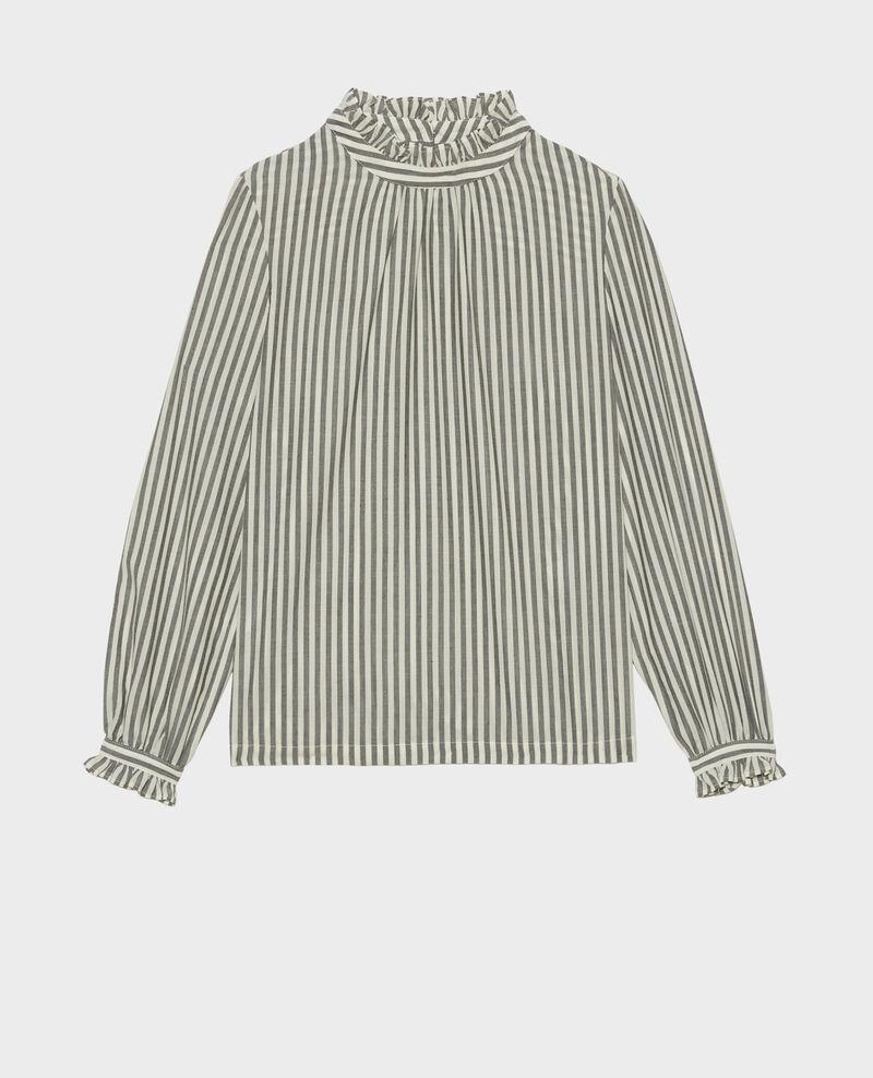 Blouse en voile de laine rayée à col volanté Stripe grey offwhite Marchas