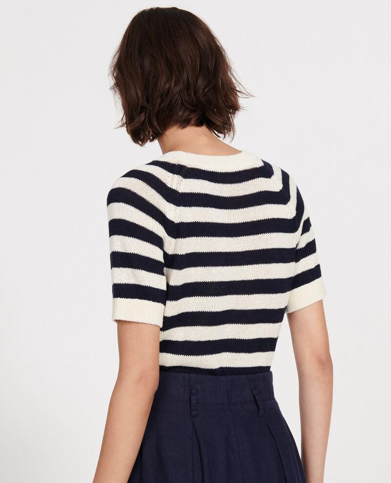 Pull rayé en coton et lin  Stripes maritime blue buttercream Licula