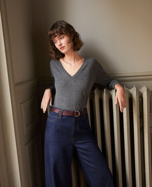 Pull en laine mérinos DARK HEATHER GREY