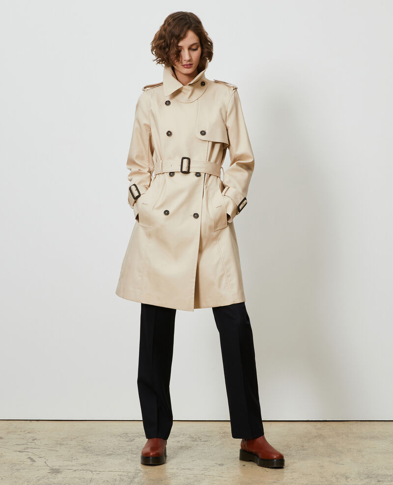 CATHERINE - Trench ceinturé mi-long en coton Smoke gray Mambert