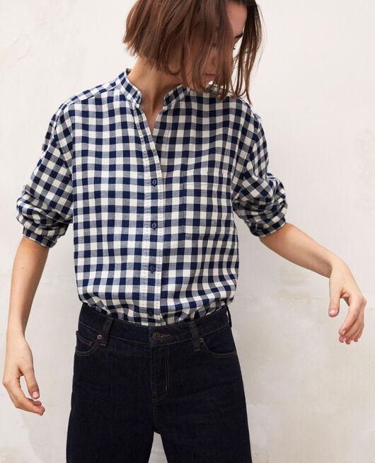 Chemise col rond à carreaux NAVY/BLANC