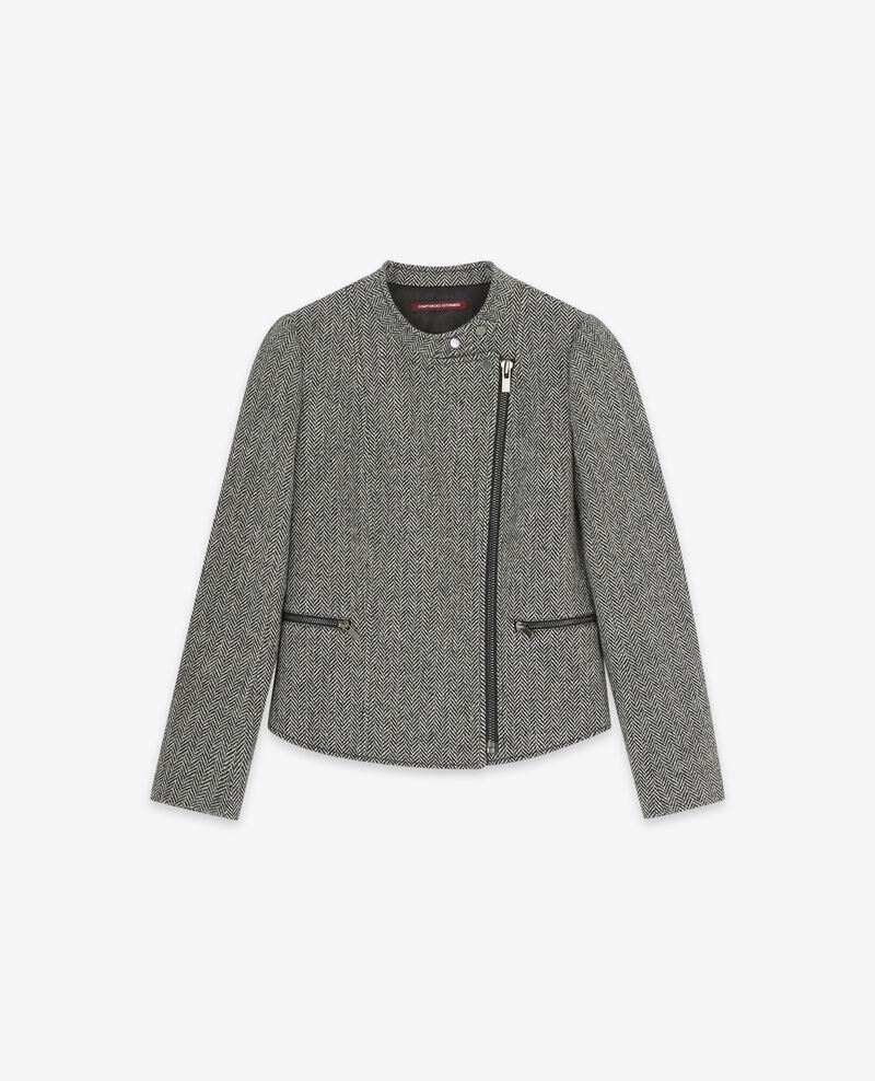 Veste en tweed style biker avec laine Medium heather grey Drible