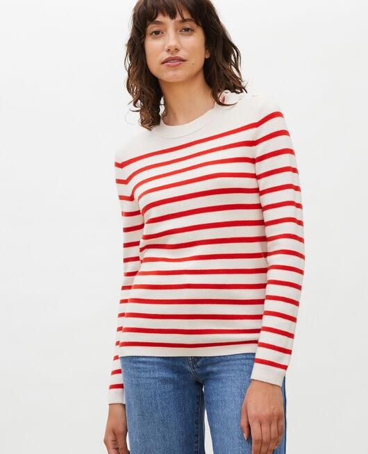 Pull marin en laine STRIPES FIERY RED GARDENIA