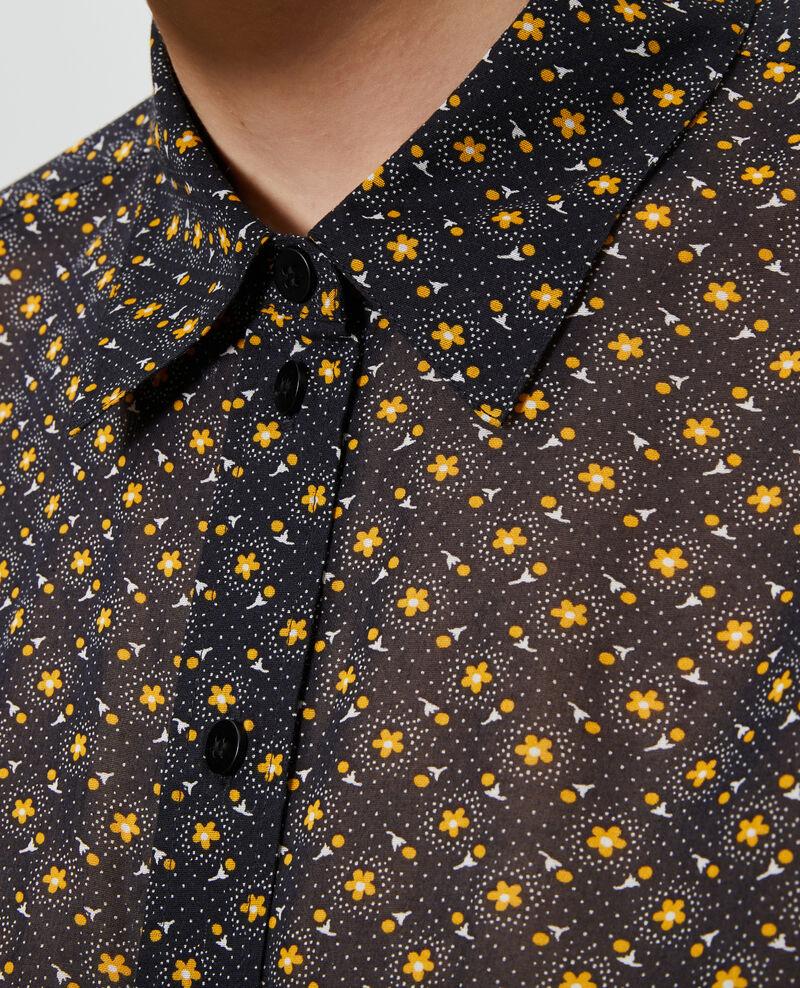 Chemise imprimée en coton Daisy old gold Nandes