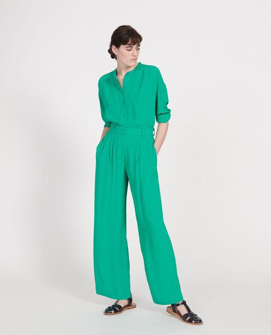 Pantalon large et fluide à plis en viscose GOLF GREEN