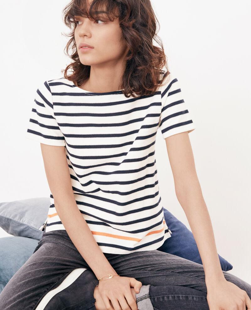 88d9c1983bb3a T-shirt marinière Kaolin/navy/tangerine