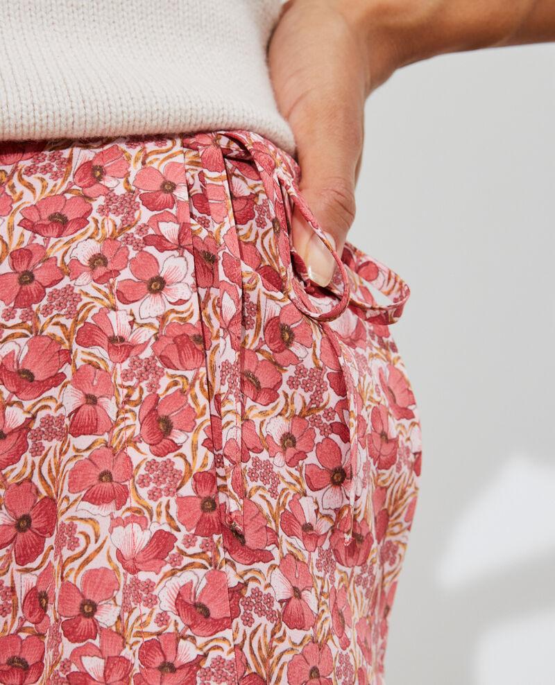 Jupe portefeuille courte en soie Art deco pink Palongue