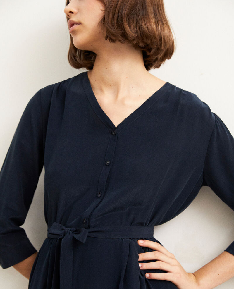 Robe mi-longue avec de la soie Bleu marine Idalie