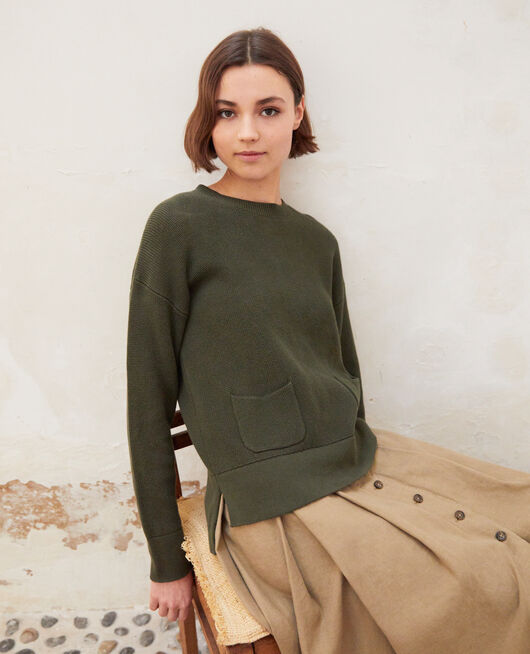 Pull col rond OLIVE GREEN