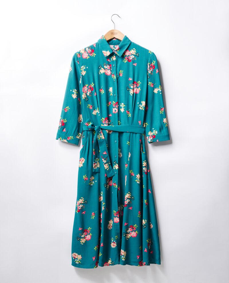 Robe longueur midi Fleurs pacific green Fidji