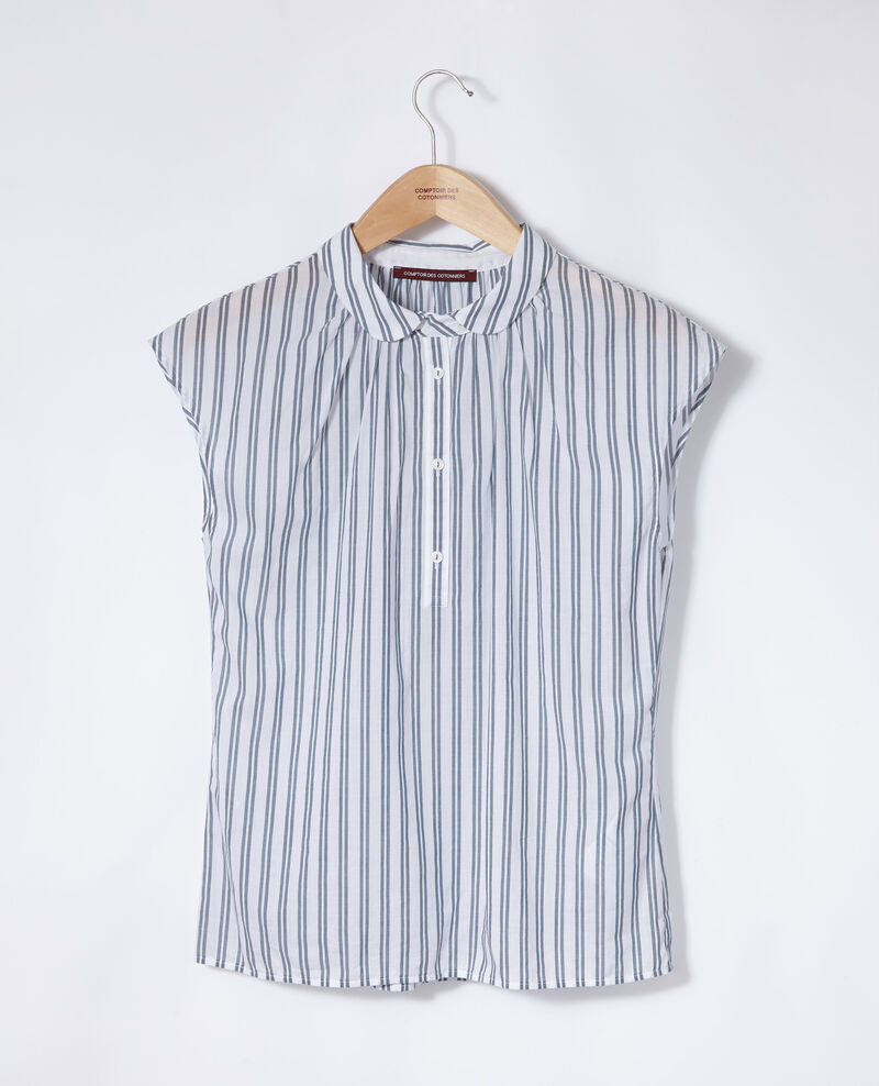 Chemise à col rond Off white/majolica blue stripes Garconne