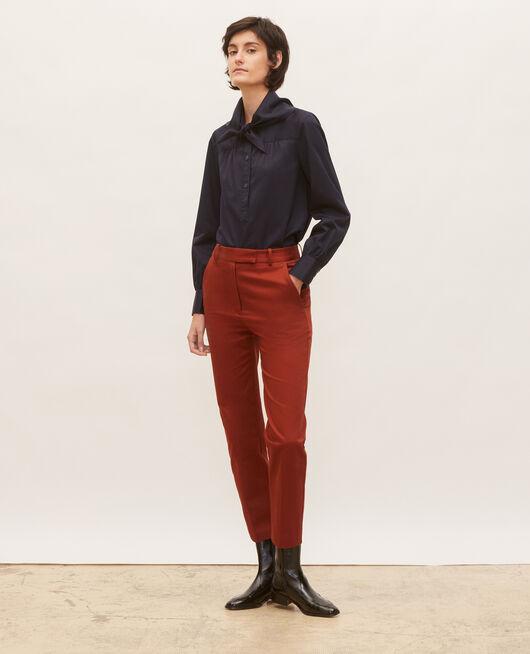 Pantalon chino 7/8e fuselé en coton BRANDY BROWN