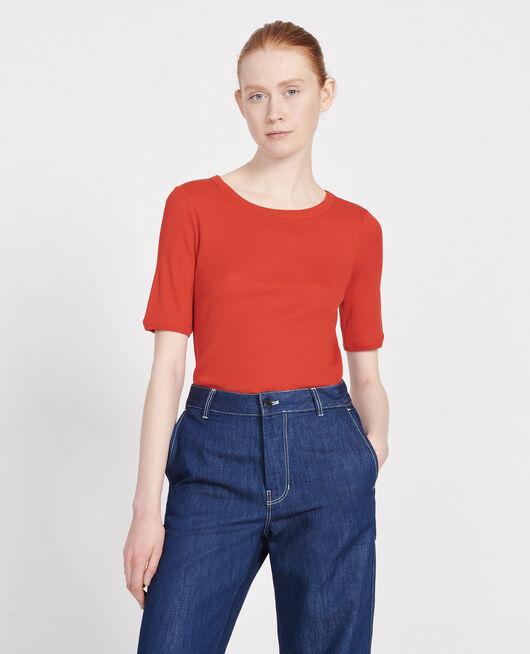 T-shirt fines côtes en coton mercerisé FIERY RED