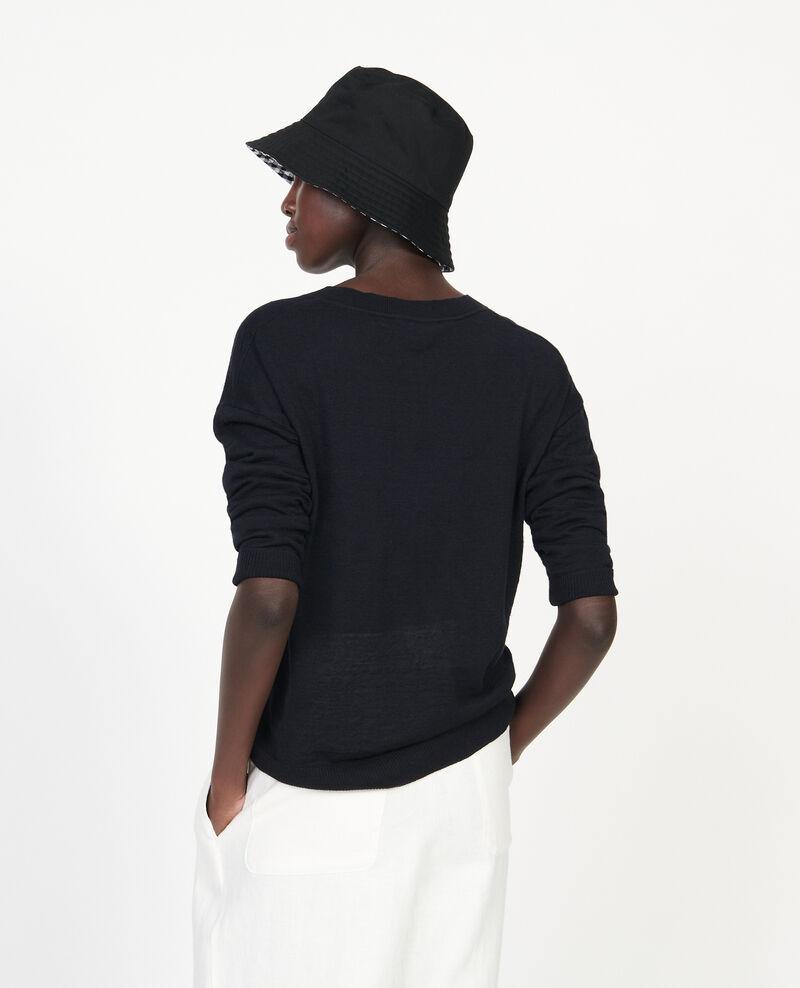 Pull col  V en lin et coton Black beauty Leonotis
