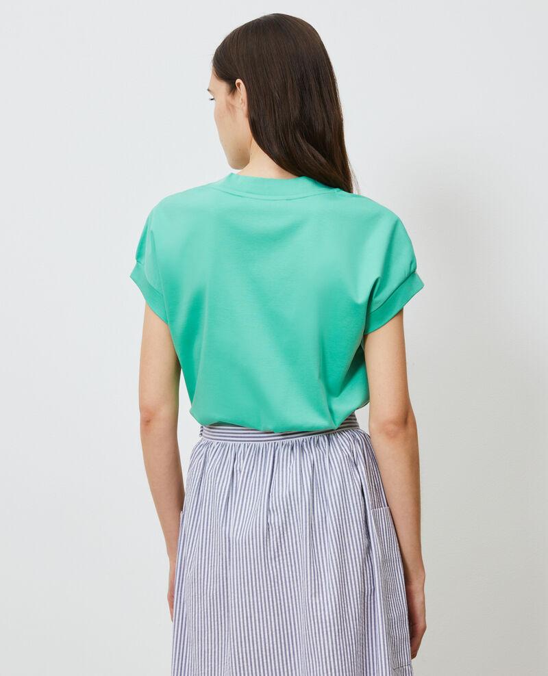T-shirt col V en coton bio Jade cream Nohant
