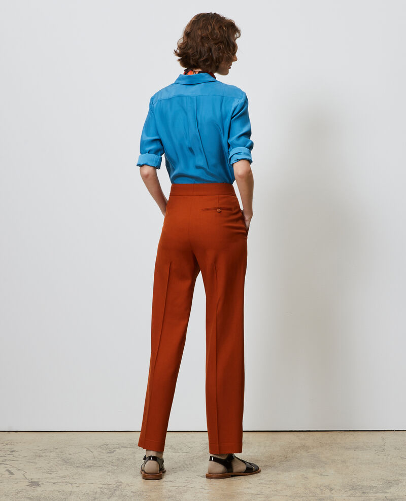 Pantalon MARCELLE, masculin droit en laine Umber Nisabelle