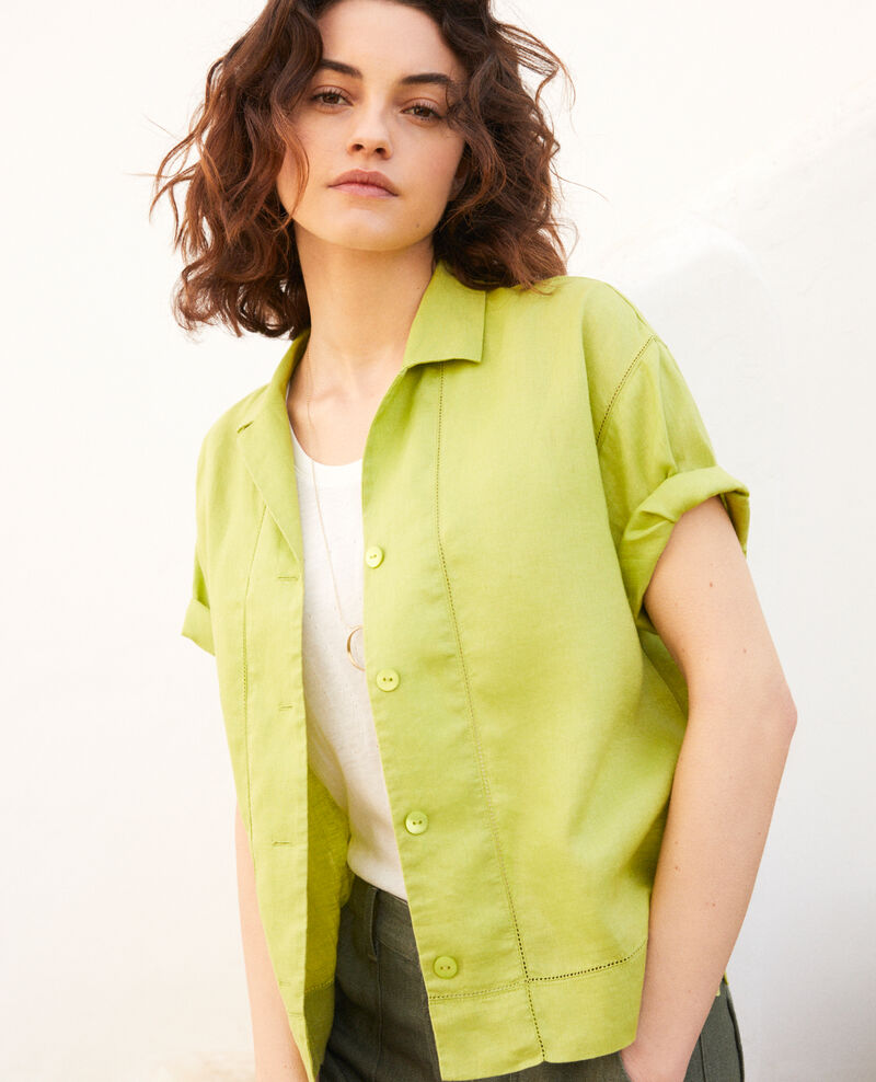 Chemise col ouvert en lin Lime green Ilage