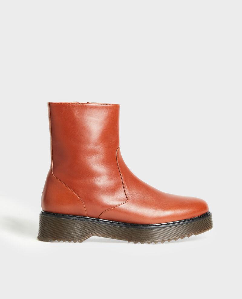 Boots en cuir compensée Brandy brown Melun
