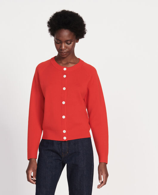 Cardigan col rond 100% laine FIERY RED