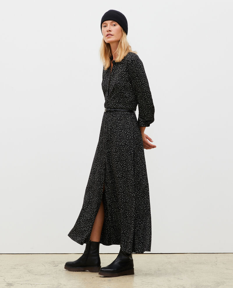 Maxi robe longue imprimée Print constellation black Meursac