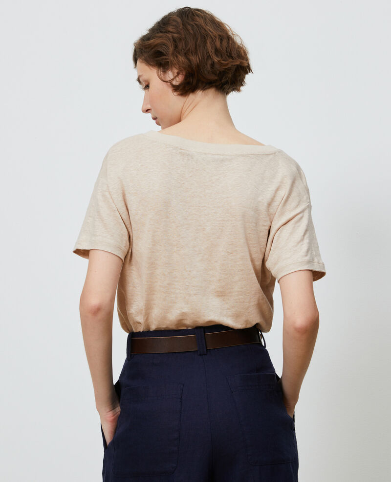 T-shirt col V en lin Oxford tan Locmelar