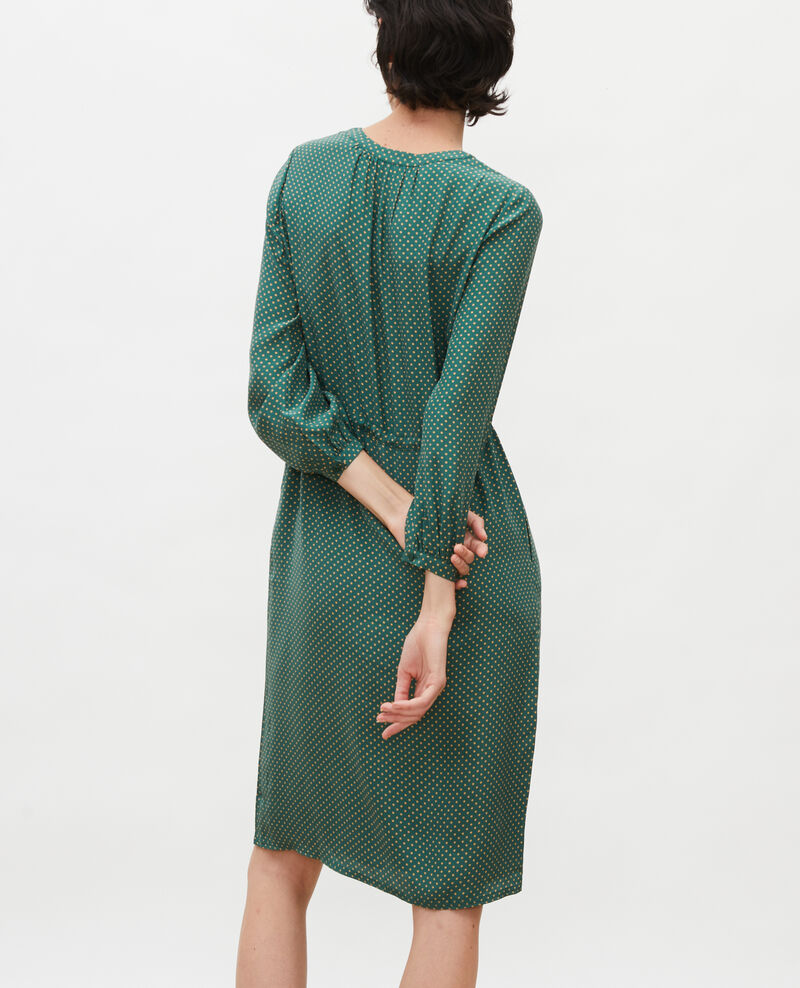 Robe ample en soie Little pois dark green Megrisa