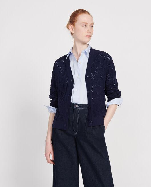 Cardigan en maille ajourée MARITIME BLUE
