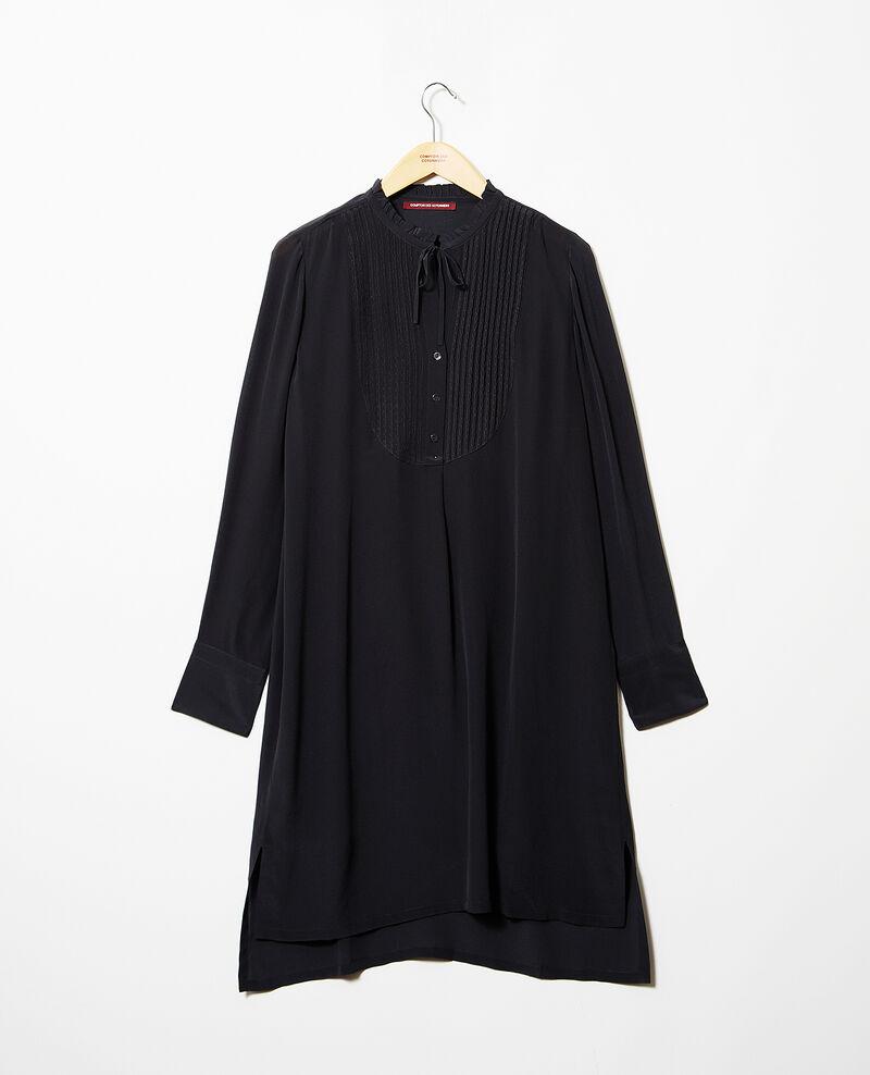 Robe avec plastron en soie Noir Isabella