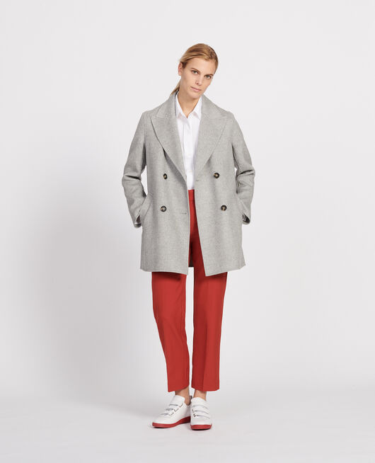 Manteau caban en lainage double face LIGHT GREY