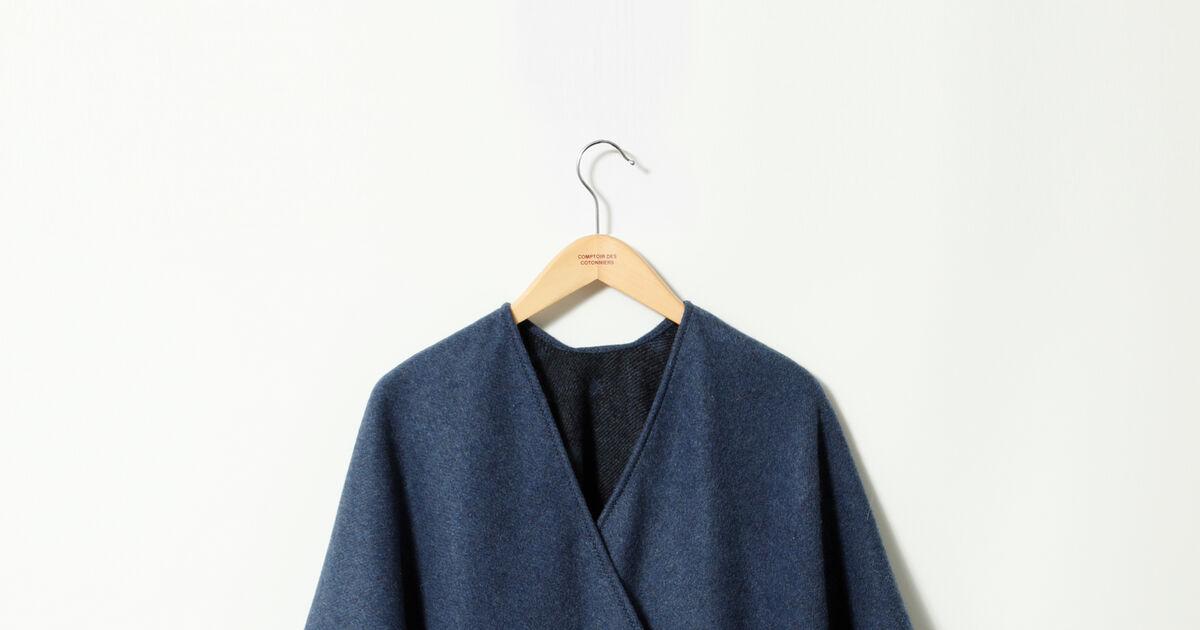Cape femme avec laine couleur ad peacoat gape comptoir des cotonniers - Cape comptoir des cotonniers ...
