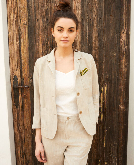 Veste de costume NATURAL LINEN/OFF WHITE