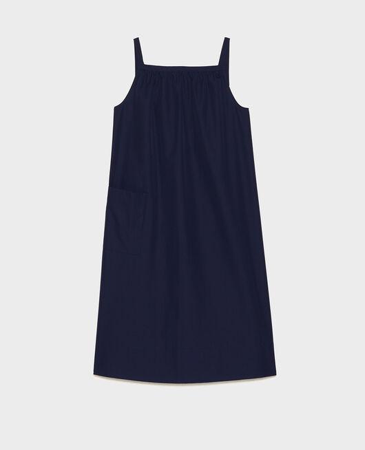 Robe évasée en popeline MARITIME BLUE
