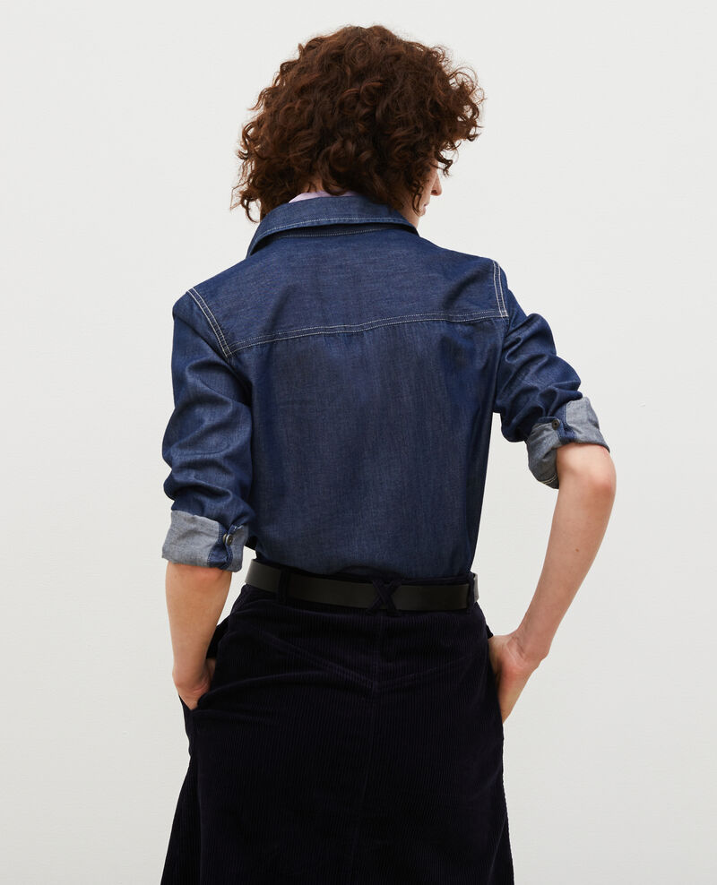 Chemise en jean à poches asymétriques Denim brut Madigna