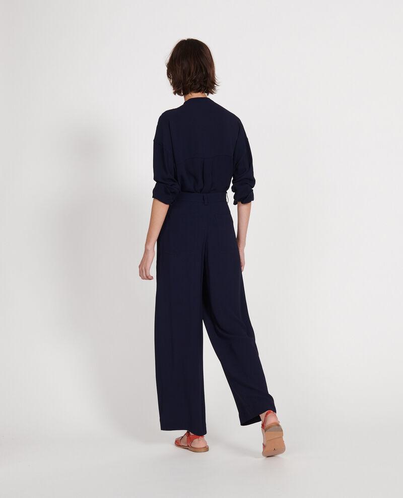 Pantalon large et fluide à plis en viscose Maritime blue Logance