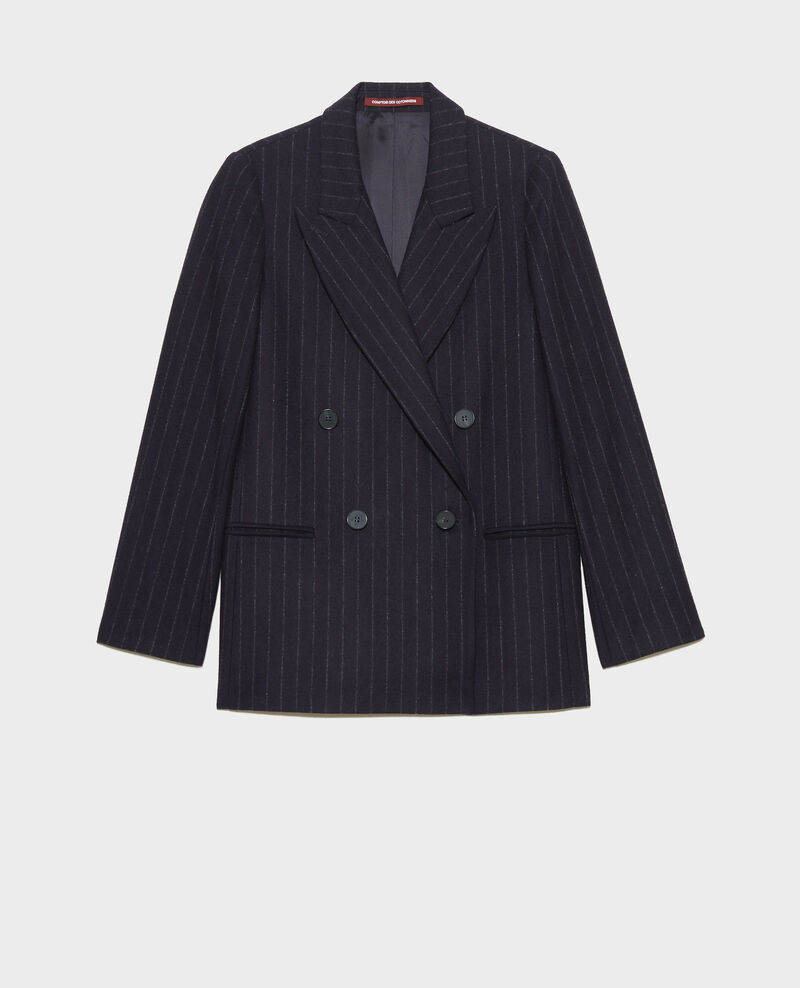 Blazer croisé en laine Stripes night sky Muciano