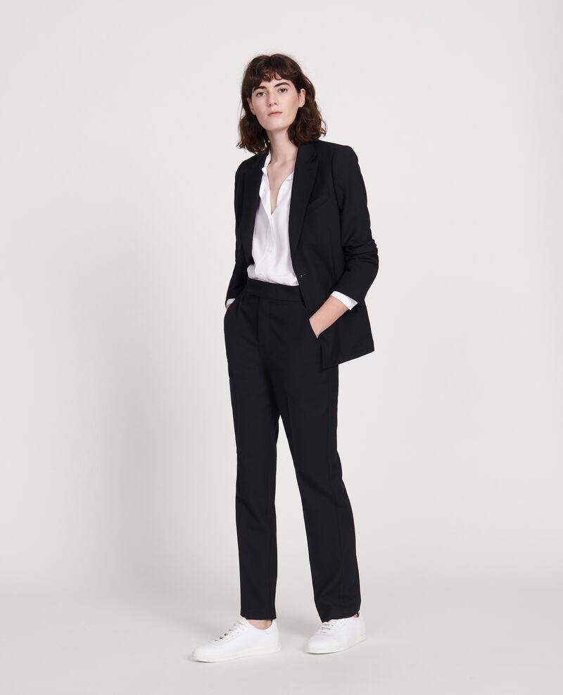 Pantalon droit en laine sèche Black beauty Lisabelle