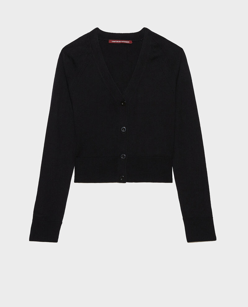 Cardigan court en coton et soie Black beauty Nouma